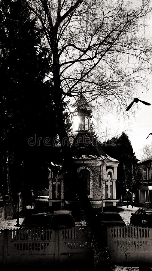 Église Lutsk, en Ukraine et corneille images libres de droits