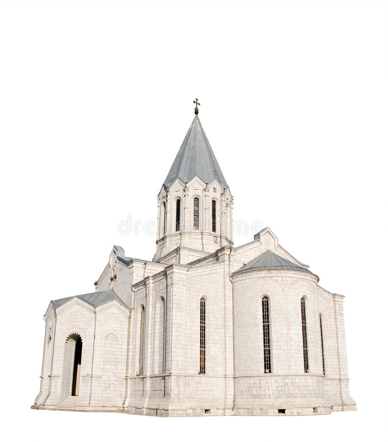 Église médiévale d'isolement sur le blanc images stock
