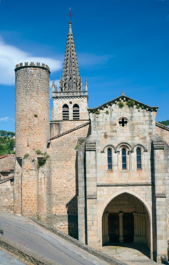 Église médiévale de notre Madame dans Largentiere photo libre de droits