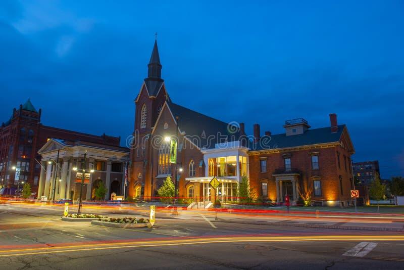 Église Méthodiste Unie de Main Street, Nashua, NH, Etats-Unis photographie stock libre de droits