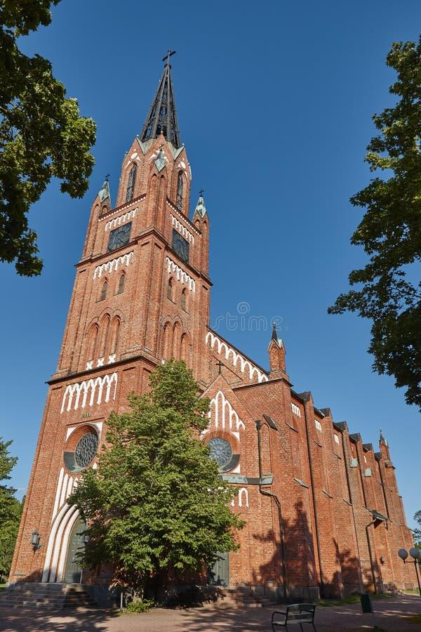 Église néogothique de brique rouge dans Pori finland Suomi l'europe photographie stock