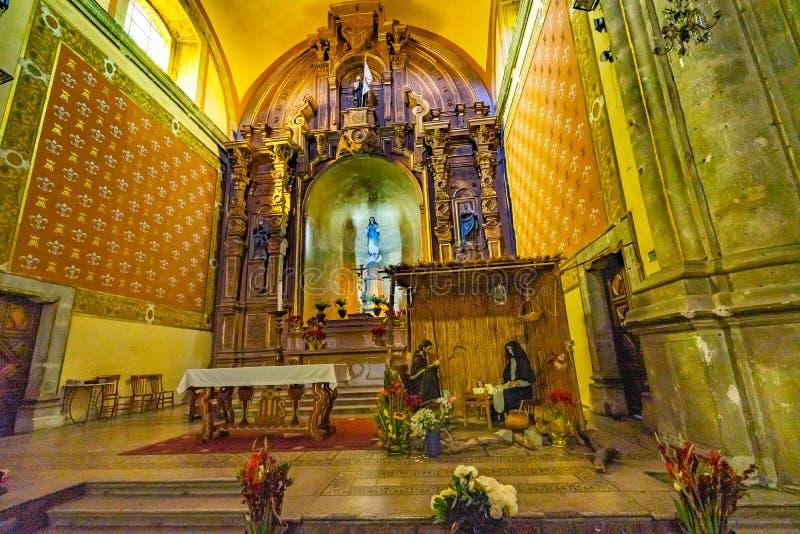 ?glise Oaxaca Mexique de Templo Compania de garderie de No?l d'autel de basilique images stock