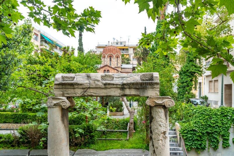 Église orthodoxe bizantine à Athènes, Grèce images stock