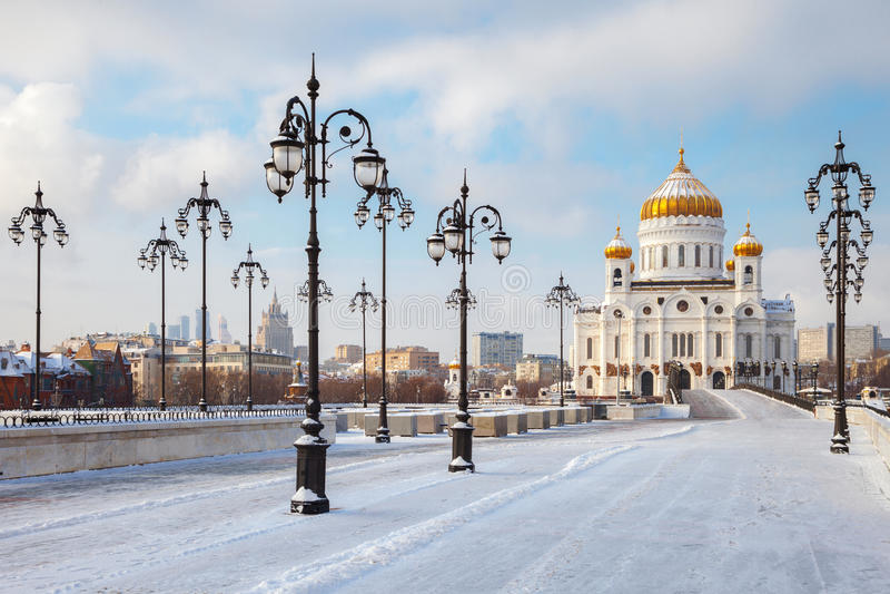 Église orthodoxe du Christ le sauveur à Moscou images libres de droits