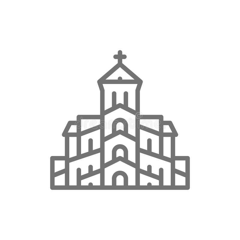 ?glise orthodoxe g?orgienne, ligne ic?ne de Tbilisi illustration stock