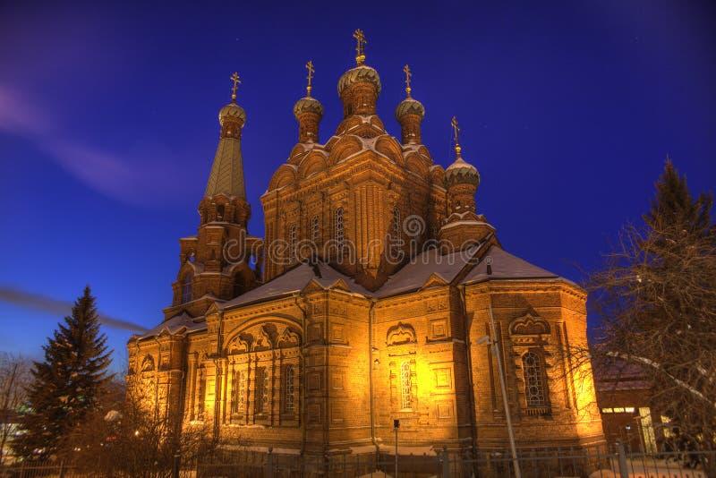Église orthodoxe la nuit images libres de droits