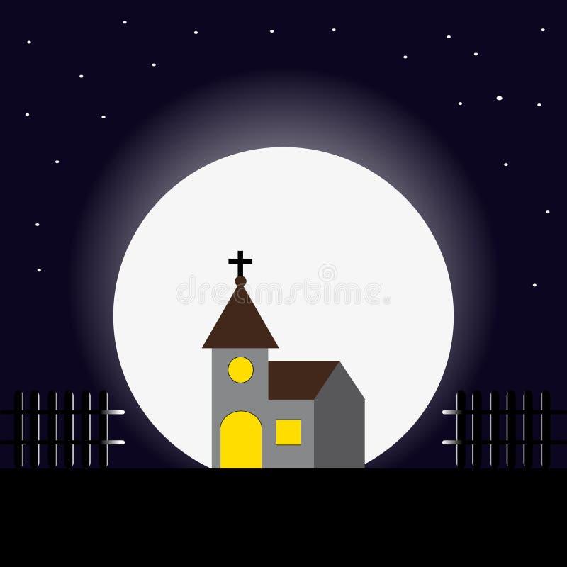 Église pendant la nuit avec la lune illustration libre de droits