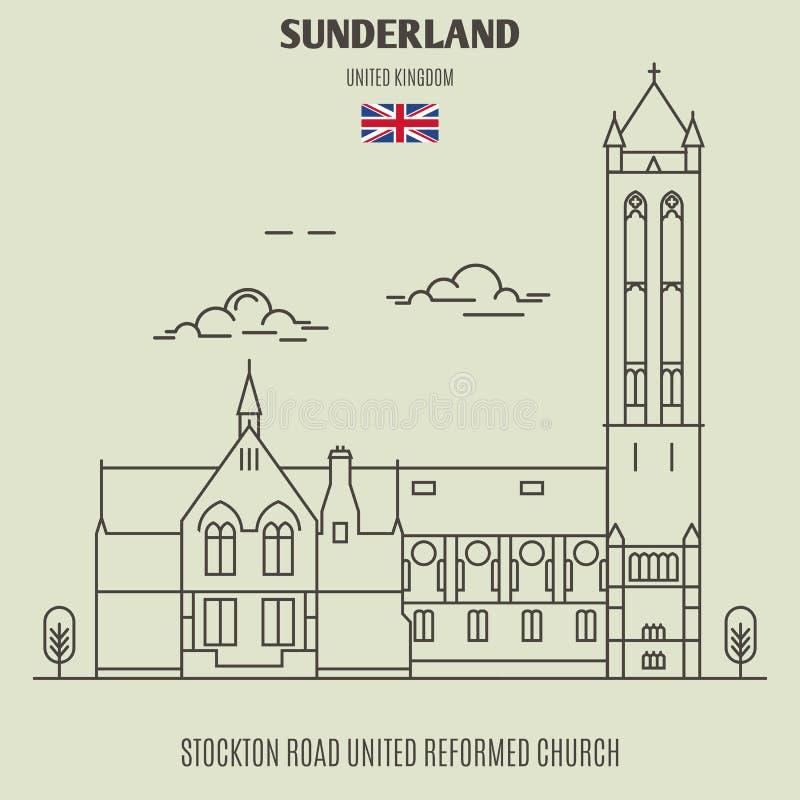 Église reformée unie par route de Stockton à Sunderland, R-U landmark illustration de vecteur