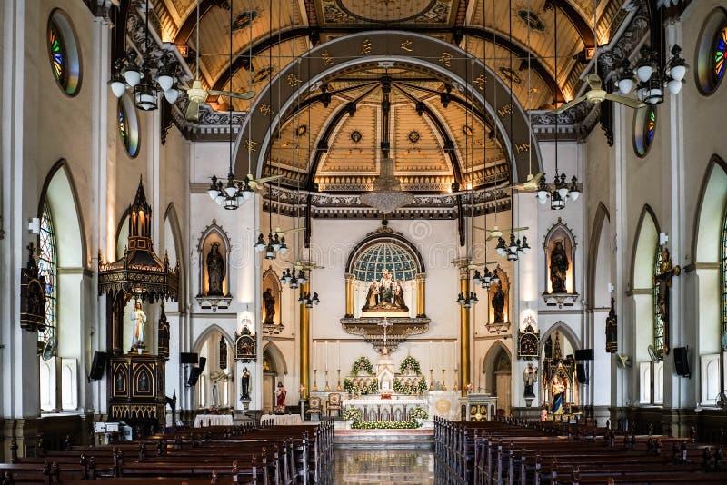 Église sainte de chapelet située à Bangkok Une petite église avec le beau fond de conception intérieure, le 6 mai 2017 photographie stock