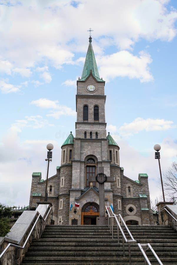 Église sainte de famille dans la rue de Krupowki dans Zakopane photo libre de droits