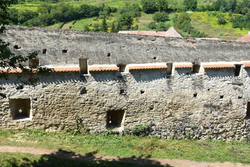 Église saxonne enrichie médiévale Biertan, la Transylvanie image stock