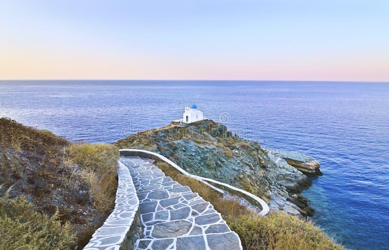 Église Sifnos Grèce de sept martyres images stock