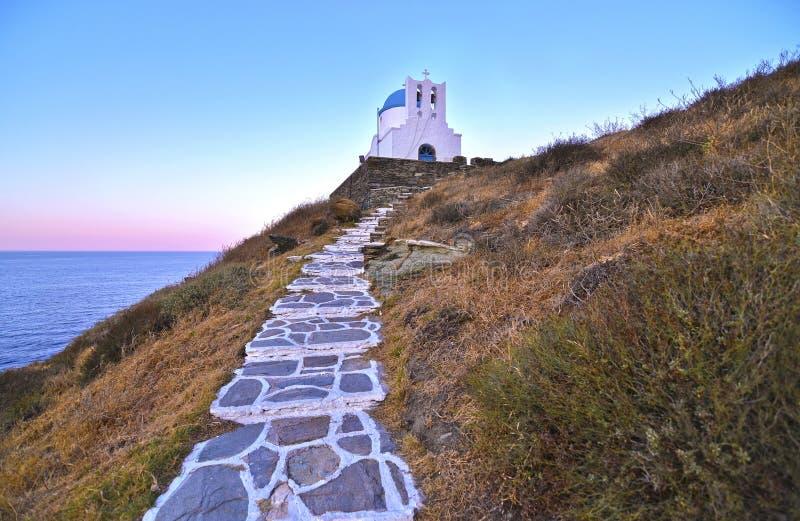 Église Sifnos Grèce de sept martyres image stock