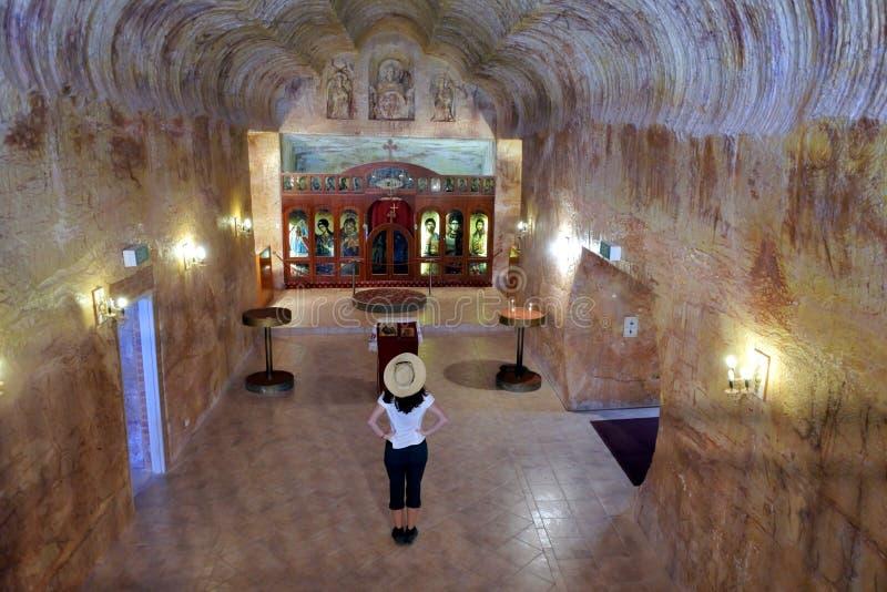 Église souterraine à l'intérieur d'une vieille mine opale en Coober Pedy South Australia image libre de droits
