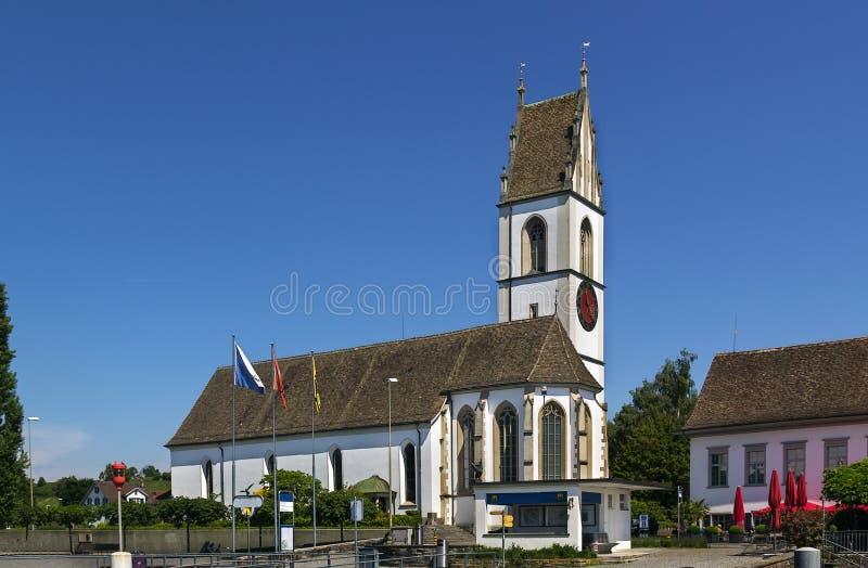 Église sur le lac zurich, Suisse photos stock