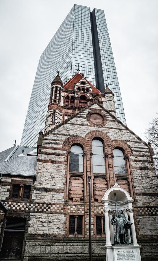 Église Trinity dans la ville de Boston photographie stock