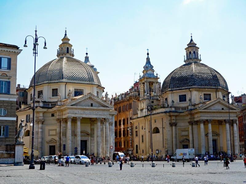 Églises jumelles, Piazza del Popolo, Rome, Italie image libre de droits