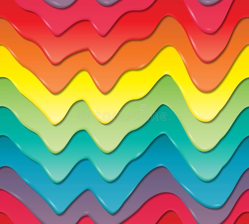 Égouttements colorés tridimensionnels de crème douce Configuration sans joint illustration stock
