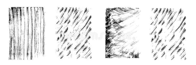 Égouttements de vecteur d'à l'encre noire Les lignes verticales et diagonales, chute et éclabousse Taille différente Séchez la te illustration stock