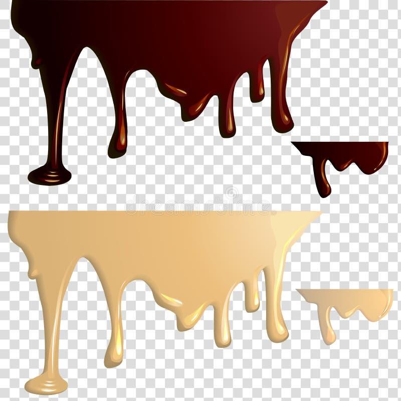 Égouttements noirs et blancs de chocolat illustration stock