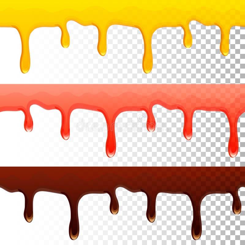 Égouttements transparents sans couture de chocolat de confiture de miel illustration de vecteur
