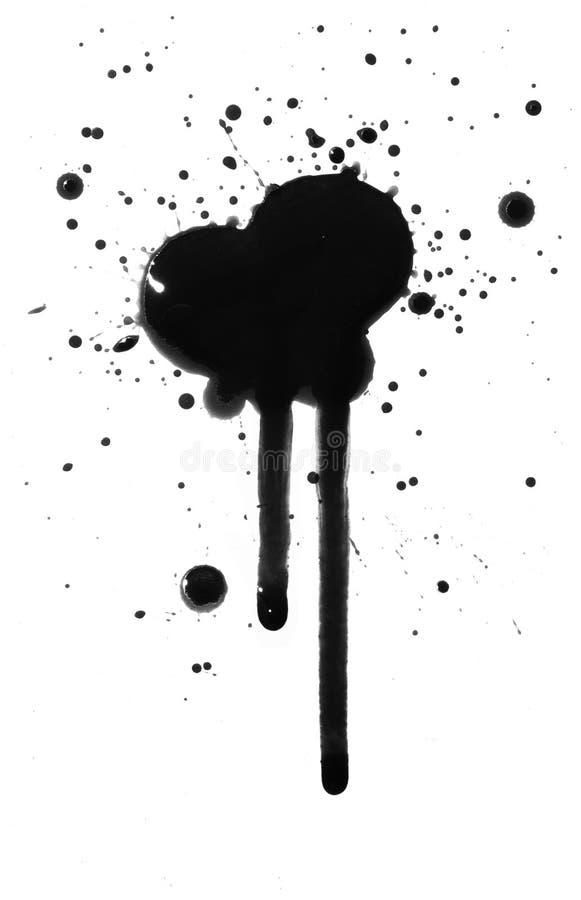 Égoutture à l'encre noire ou de pétrole de floc de tache photos stock