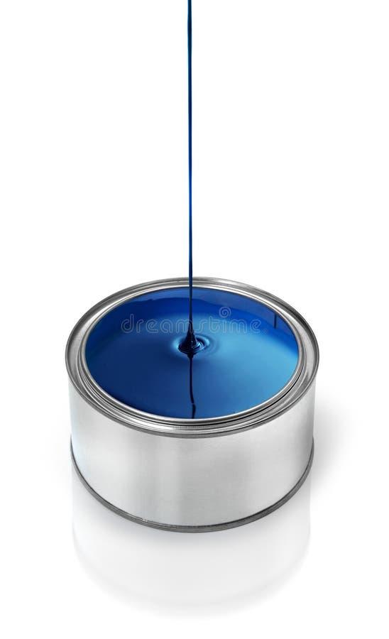 Égoutture bleue de peinture photographie stock
