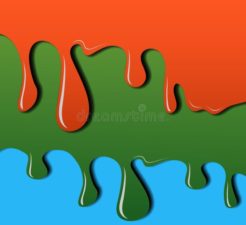 Égoutture de couleur, étirant la peinture Baisses en baisse Illustration de vecteur pour votre eau doux de design illustration stock