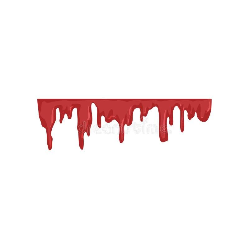 Égoutture de sang, illustration liquide rouge débordante de vecteur sur un fond blanc illustration libre de droits