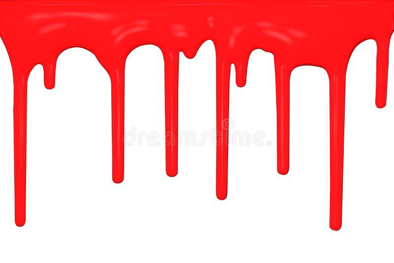 Égoutture rouge de peinture, courants débordants des baisses d'isolement sur le fond blanc, rendu 3D illustration stock