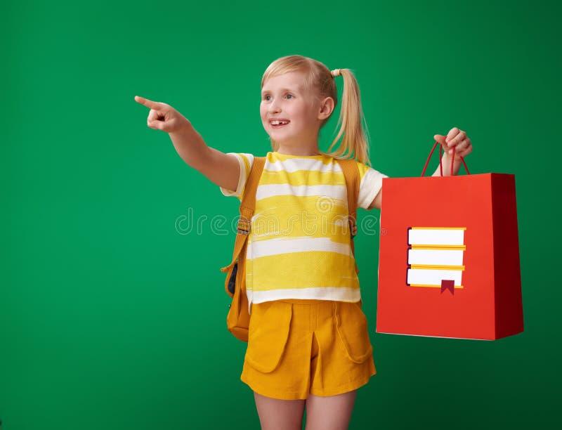 Élève avec le panier avec la papeterie se dirigeant à quelque chose photo libre de droits