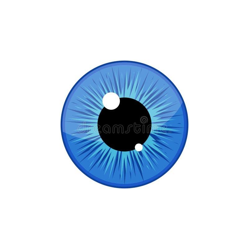 Élève bleu humain d'iris de globe oculaire d'isolement sur le fond blanc Oeil illustration de vecteur