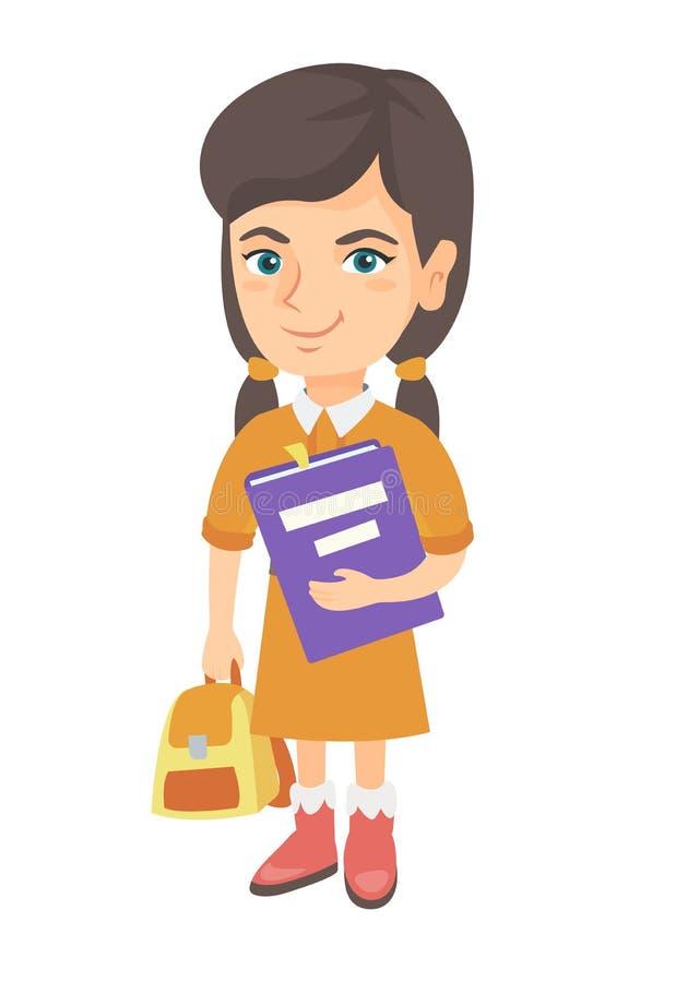 Élève caucasien avec le sac à dos et le manuel illustration stock