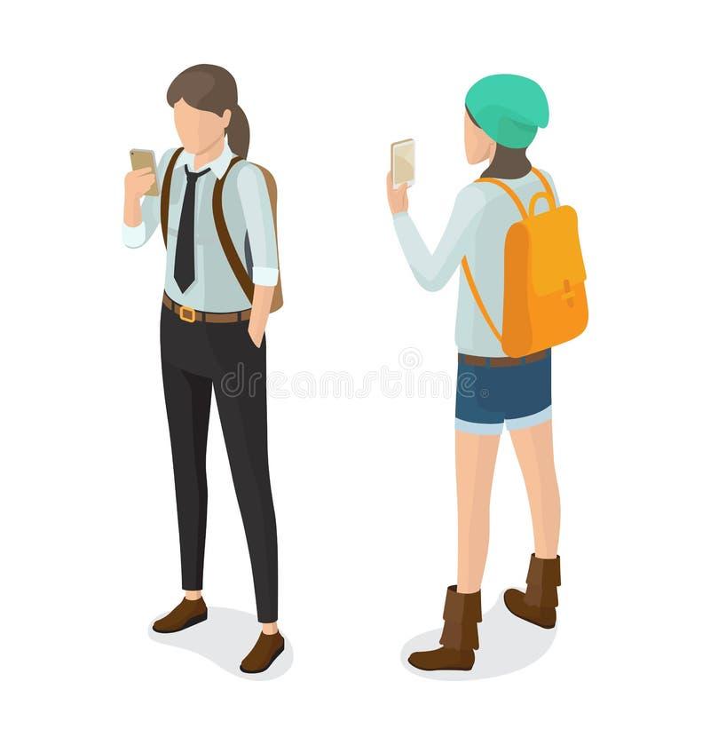 Élève de lycée dans la chemise et le lien noirs de pantalons illustration de vecteur