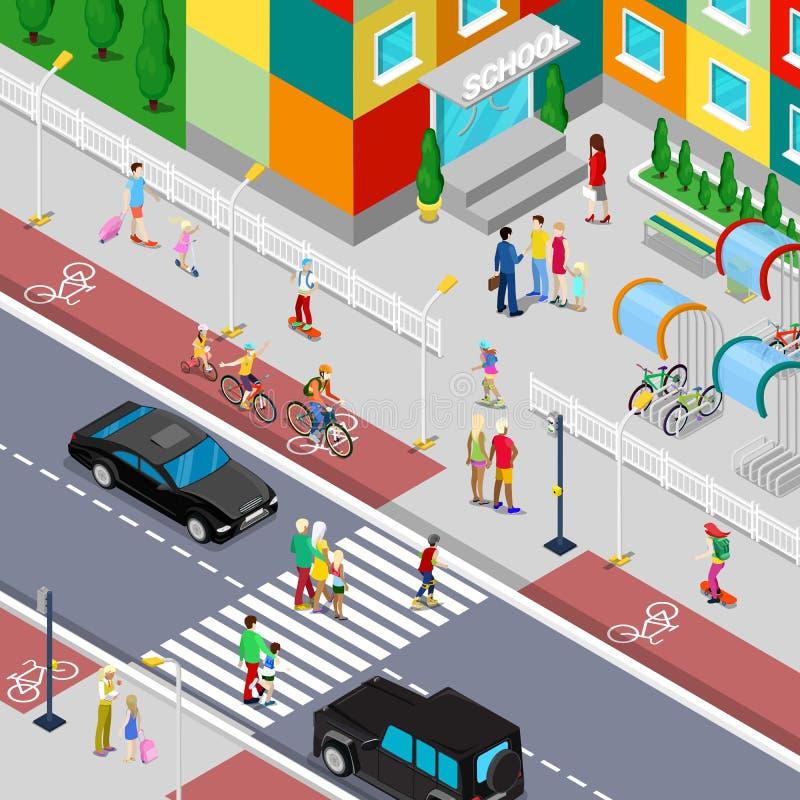 Élèves isométriques allant au bâtiment scolaire avec des parents illustration stock