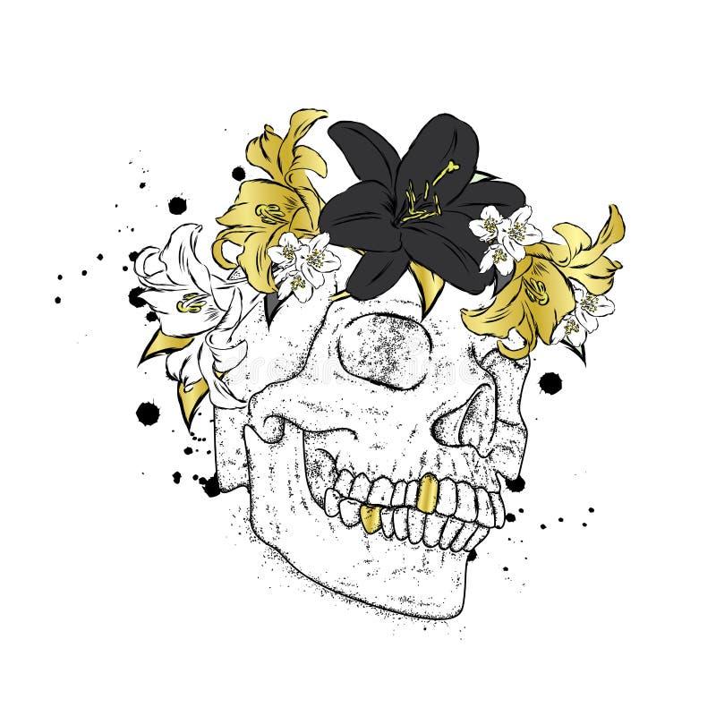 Élégant dans une guirlande des fleurs Dirigez l'illustration pour une carte ou l'affiche, copie sur des vêtements Le squelette de illustration libre de droits