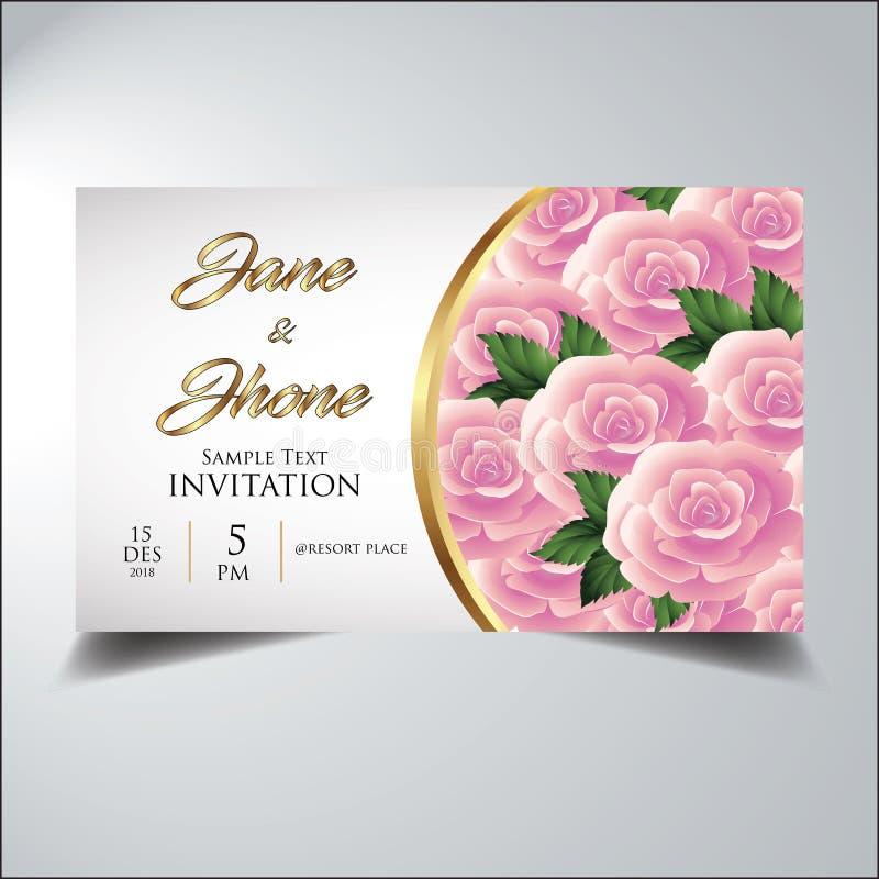 Or élégant de rose de fleur de sembler d'invitation photographie stock libre de droits