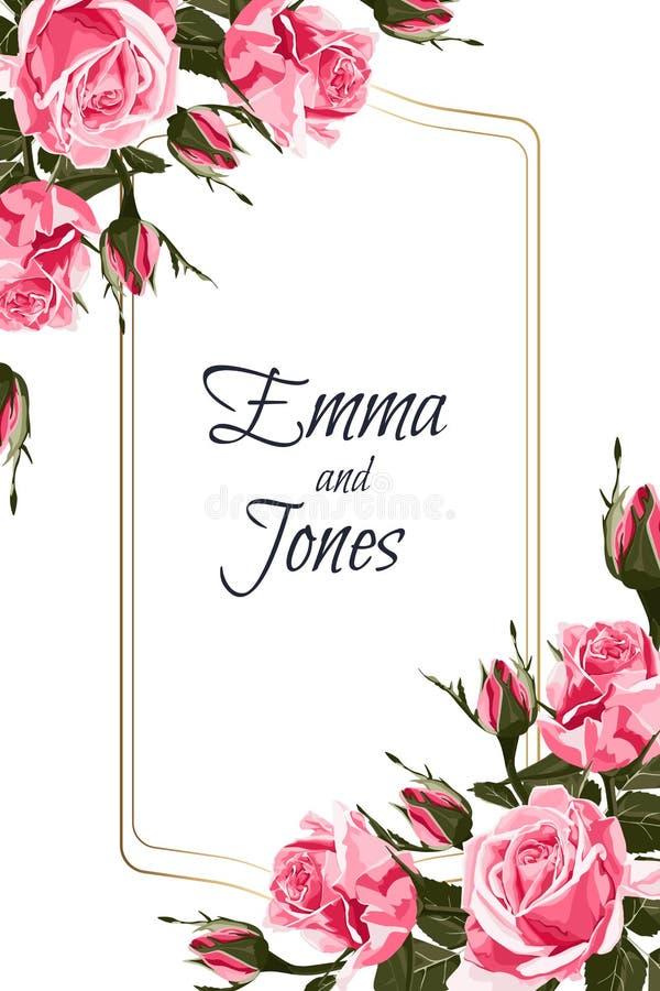 Élégants floraux invitent la conception de cadre d'or de carte : roses de rose de style de vintage illustration de vecteur