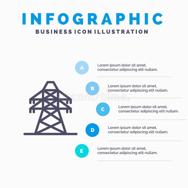 Élém. élect., énergie, transmission, ligne icône de tour de transmission avec le fond d'infographics de présentation de 5 étapes illustration de vecteur