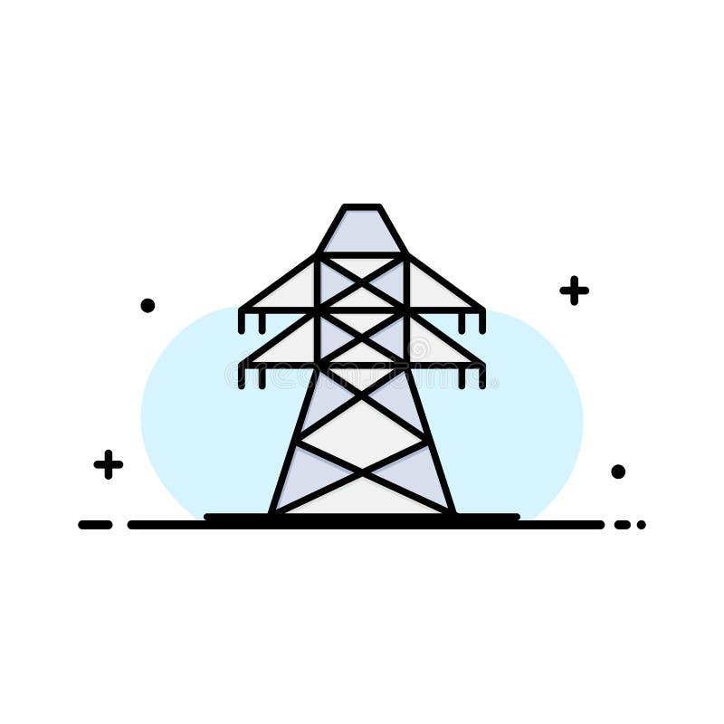 Élém. élect., énergie, transmission, ligne plate d'affaires de tour de transmission a rempli calibre de bannière de vecteur d'icô illustration stock
