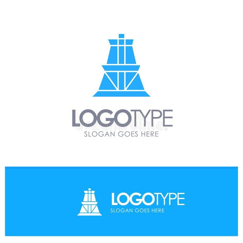 Élém. élect., énergie, transmission, logo solide bleu de tour de transmission avec l'endroit pour le tagline illustration stock