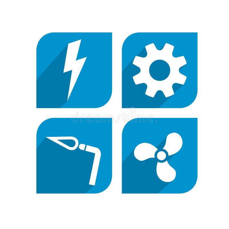 Élém. élect., mécanique, soudant, conception d'icône de la CAHT illustration stock