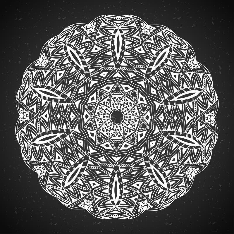 Élément abstrait de blanc de noir de conception Mandala rond dans le vecteur Calibre graphique pour votre conception Modèle circu illustration stock