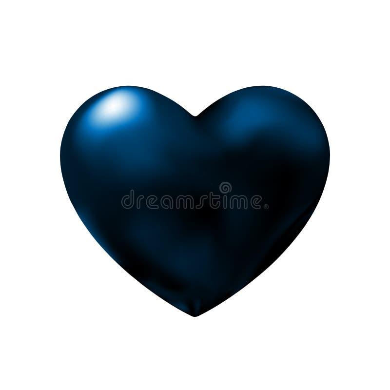 Élément abstrait de conception de coeur bleu-foncé pour le jour de valentines Abstraction sombre d'icône dans la nuit Illustratio illustration libre de droits