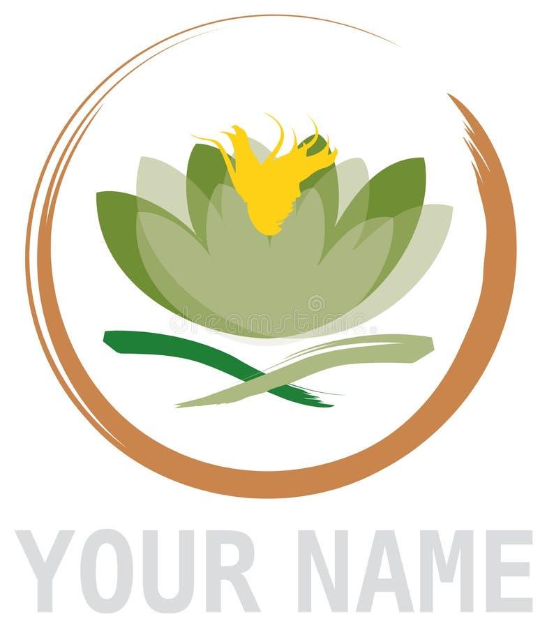 Élément abstrait de fleur de lotus en cercle illustration de vecteur