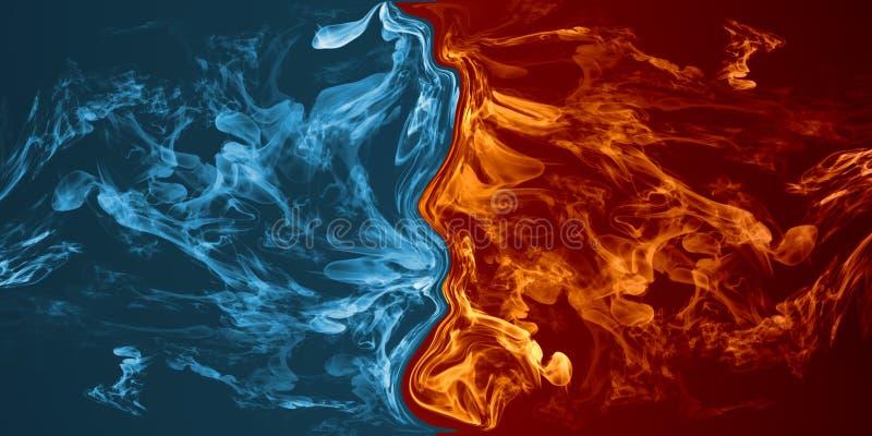 Élément abstrait du feu et de glace contre contre l'un l'autre fond illustration de vecteur