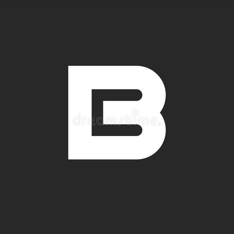 Élément audacieux de conception de logo de la lettre B, lettres négatives du style deux de l'espace maquette d'emblème de carte d illustration libre de droits