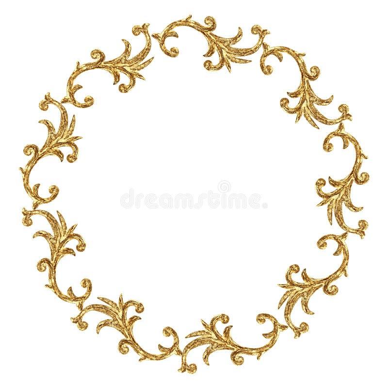 Élément baroque de style d'ornement de rond d'or Cru tiré par la main gravant le cadre en filigrane de rouleau floral illustration libre de droits