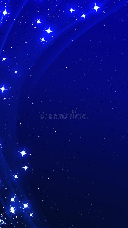 Élément bleu de conception de vague de couleur brillante abstraite avec l'effet de scintillement sur le fond foncé Contexte verti illustration libre de droits