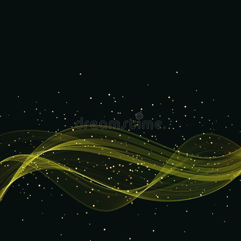 Élément brillant abstrait de conception de vague d'or de couleur de vecteur sur le fond foncé illustration stock